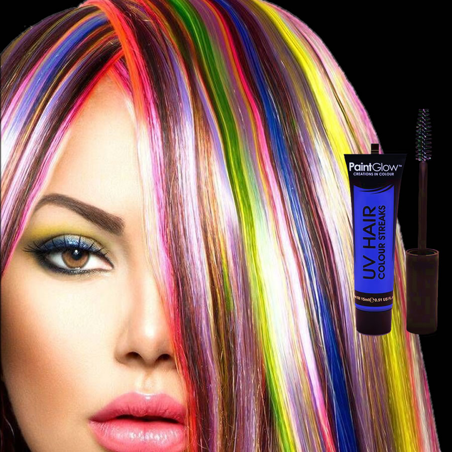 Blue UV Neon Hair Streaks