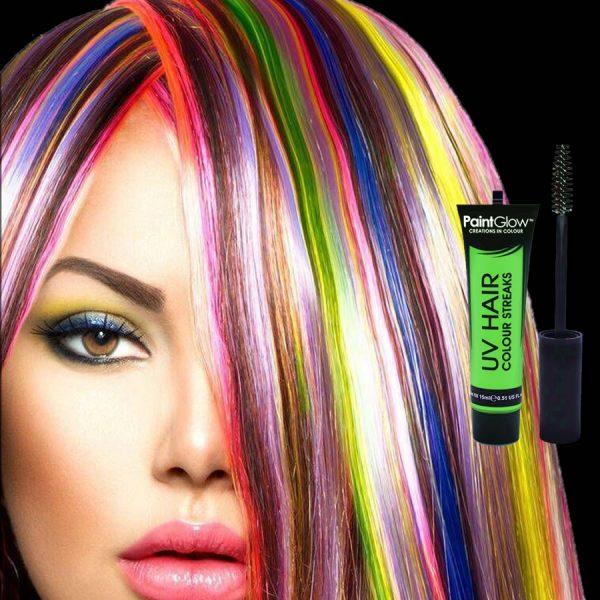 Green UV Neon Hair Streaks