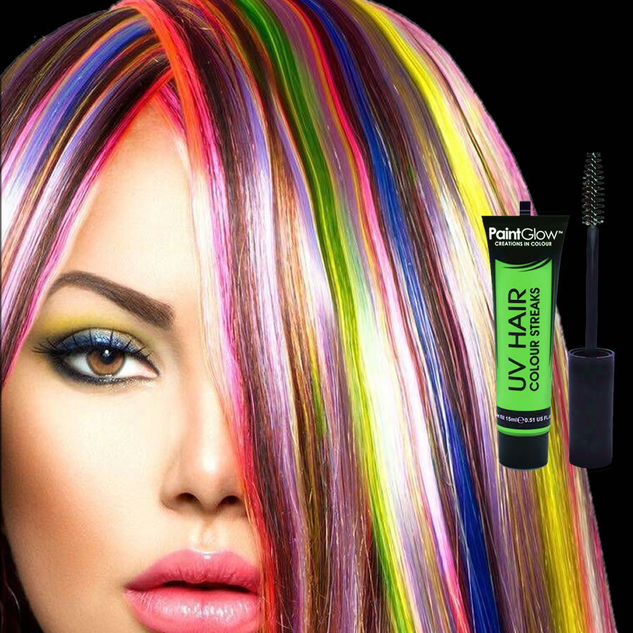 Green UV Neon Hair Streaks