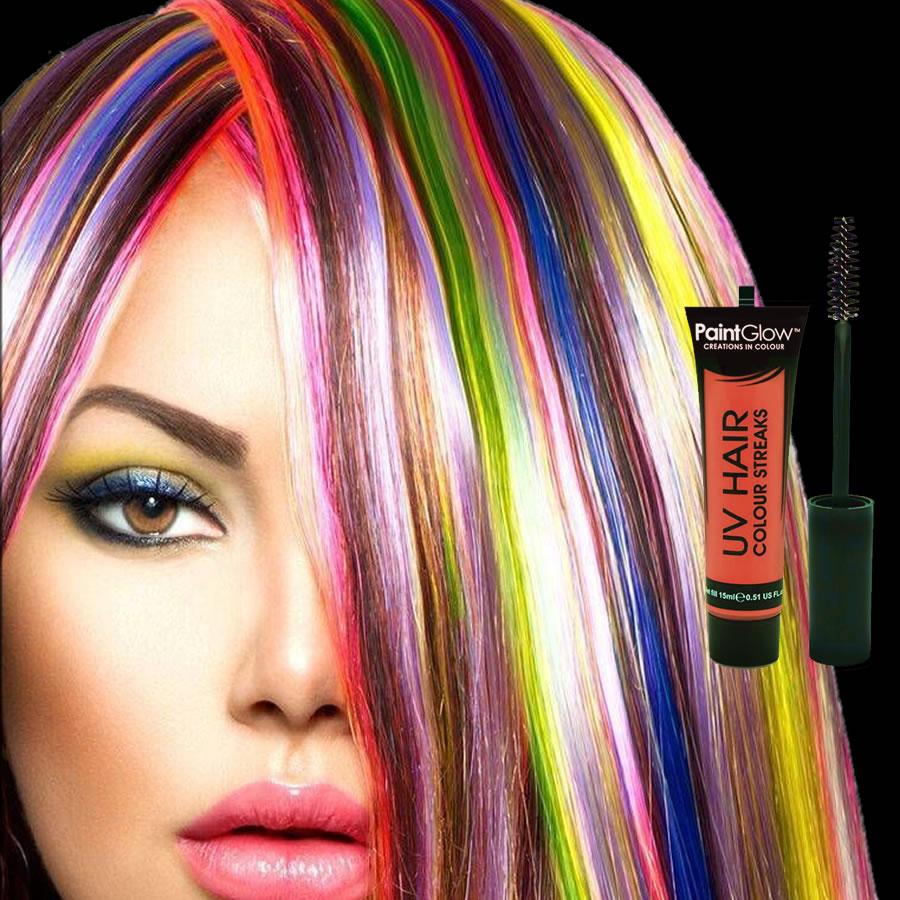 Orange UV Neon Hair Streaks