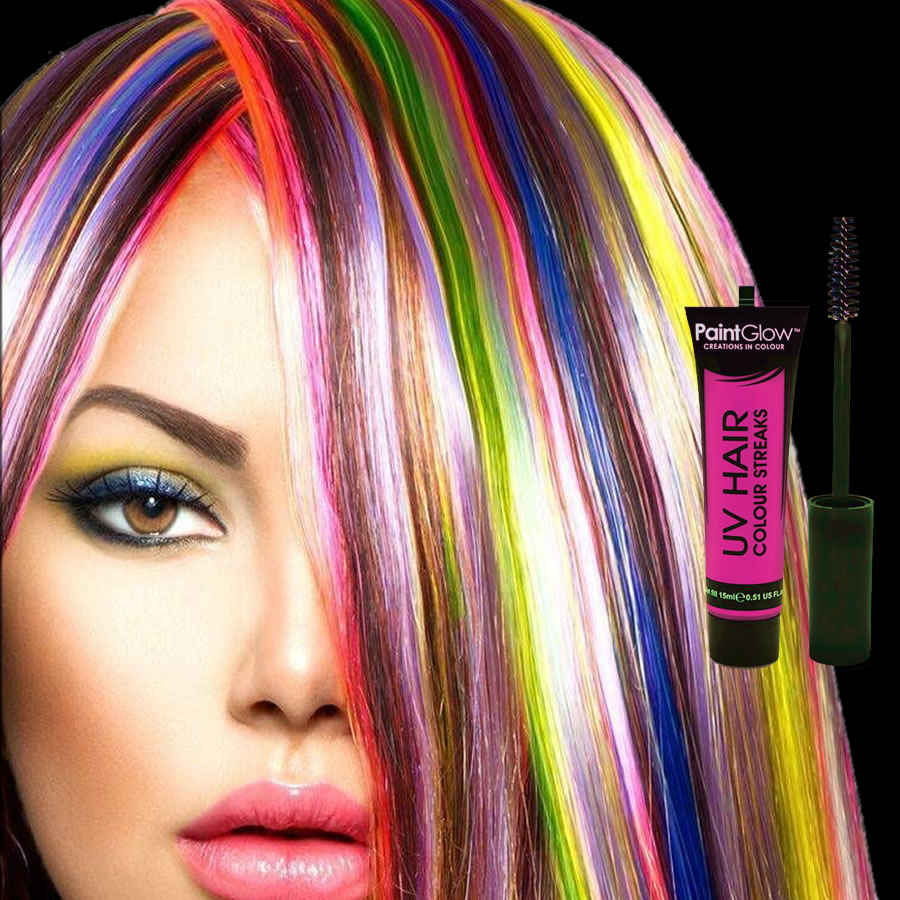 Pink UV Neon Hair Streaks