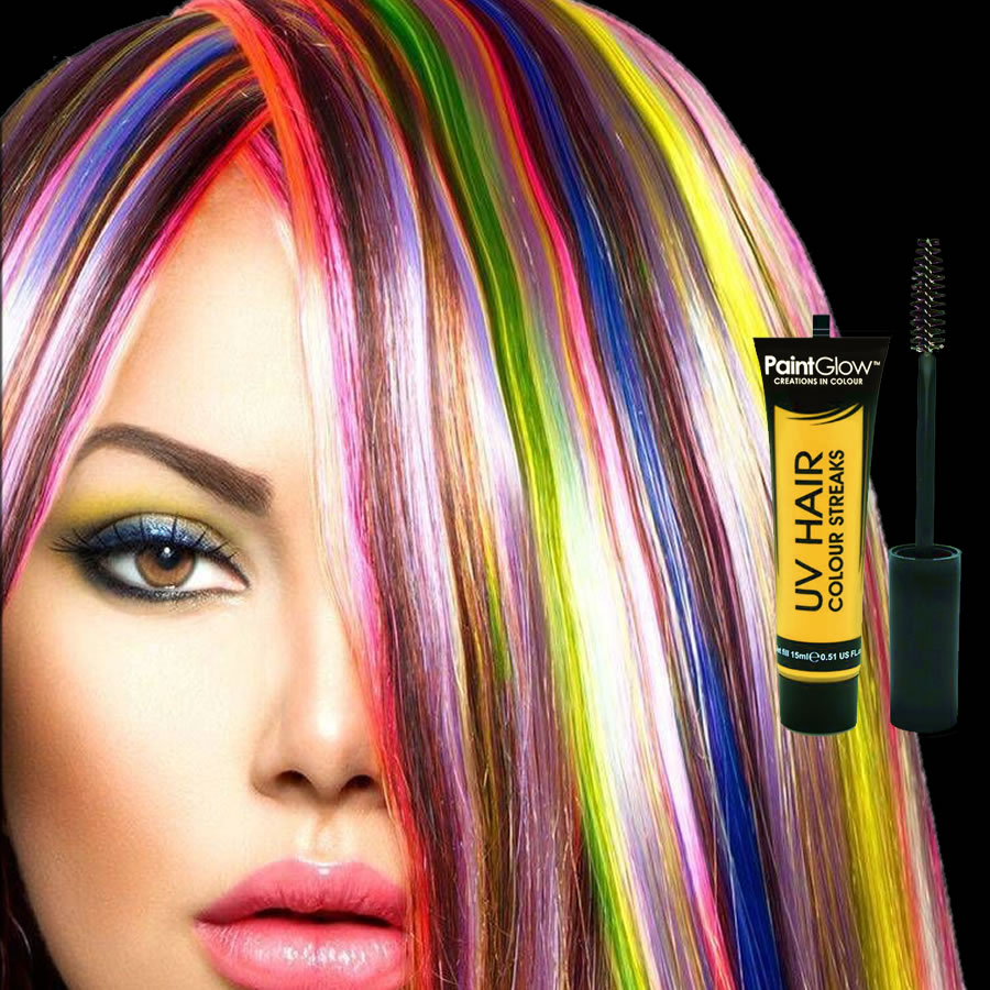 Yellow UV Neon Hair Streaks