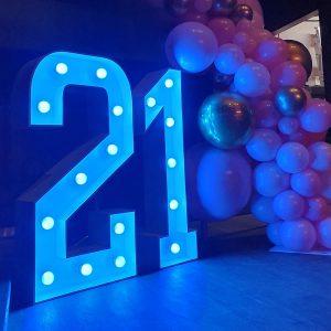 21 light up letters blue