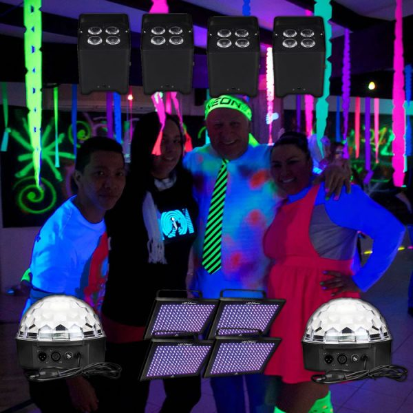 UV party with disco lights